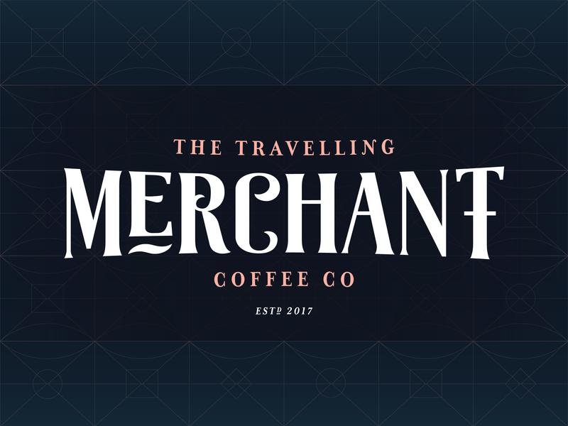 The Travelling Merchant Coffee Co. noire art deco gatsby travelling travel luxury royal maritime nautical merchant coffee typography design branding logo brand