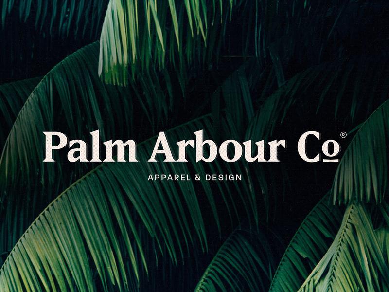 Palm Arbour Co. Final Logo typography swimwear fashion palmtree apparel tropical palm design clothing travel branding logo brand