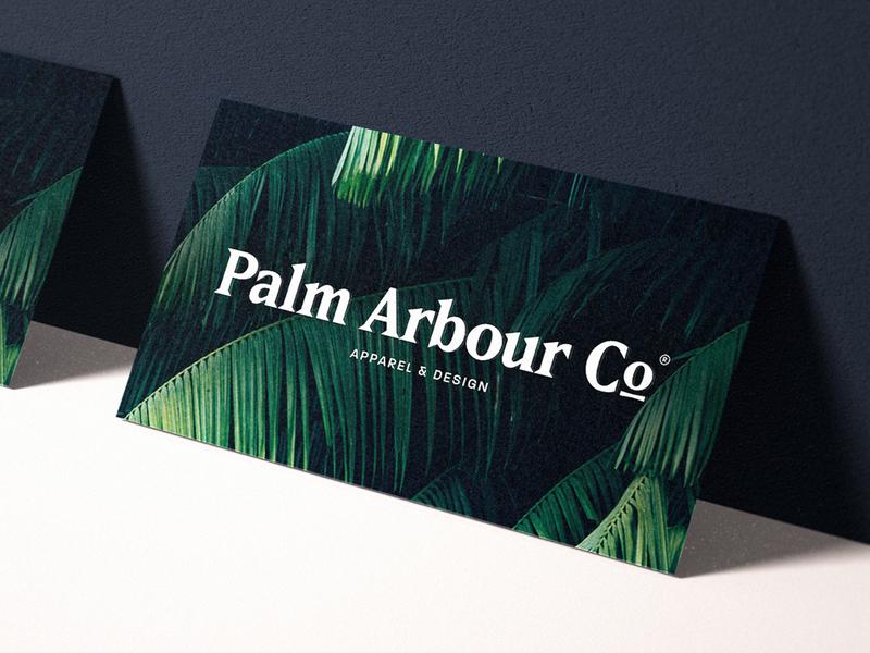Palm Arbour Co. Presentation Mockup mockup typography swimwear fashion palmtree apparel tropical palm design clothing travel branding logo brand