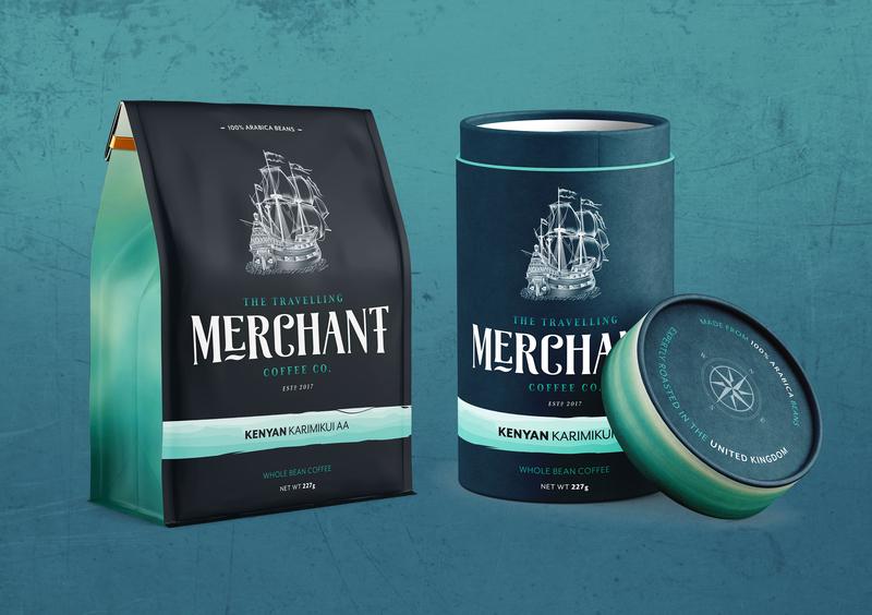 Travelling Merchant Packaging Designs travel coffee coffee bag package mockup packaging design branding logo brand