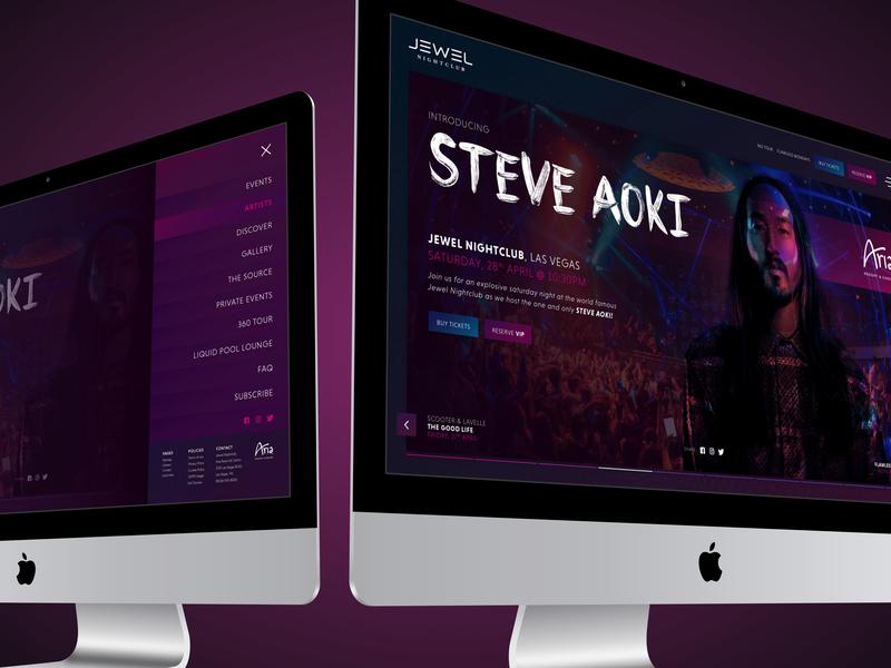 Aria Jewel Nightclub UI Visual music dark user experience design ui uxui user inteface website design nightclub aria