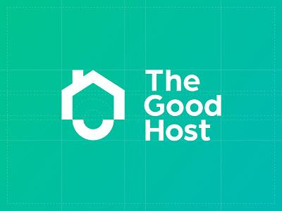 The Good Host Logo teal gradients logomark logotype brandmark icon symbol home house positive happy good property host typography branding logo brand design