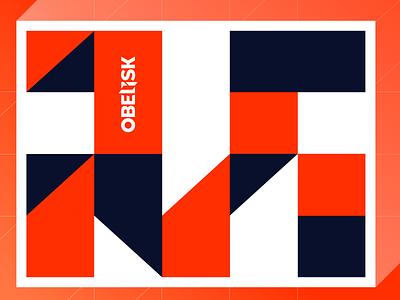 Geometric Pattern logo brand experiment obelisk agency styleguide brand design branding blocks shapes blue orange pattern geometry geometric