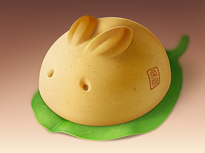 little bunny icon illustration food pastry dessert leaf chinese
