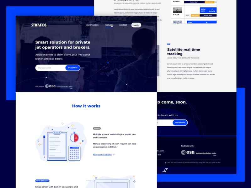 Strafos - website feature features list blue colour microsite strafos air fly aviation branding design website ui kit user interface ux ui