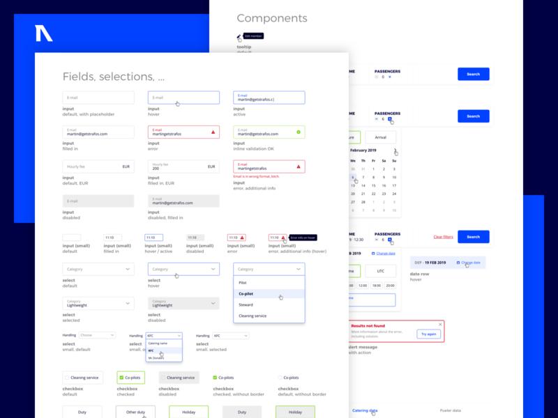 Strafos - UI kit toast filters calendar checkbox select input kit colours app admin fields design website ui kit user interface ux ui