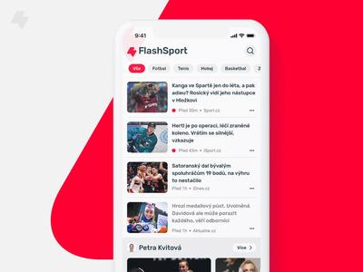 FlashSport - sports news app dark mode colours app user interface news newsfeed news app ui ux sport news sport