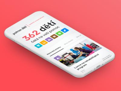 Patron dětí redesign (homepage) stories story kids patron dětí mobile charity homepage ux ui