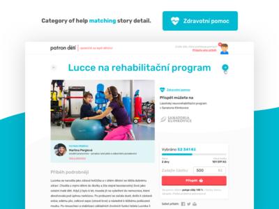Patron dětí redesign (kid story detail) website charity kids mobile detail interface ui ux