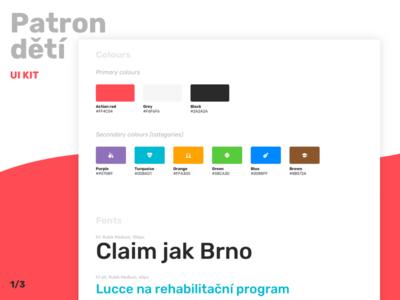 Patron dětí UI kit (1/3) headlines rubik font fonts color colours user interface ui ui kit