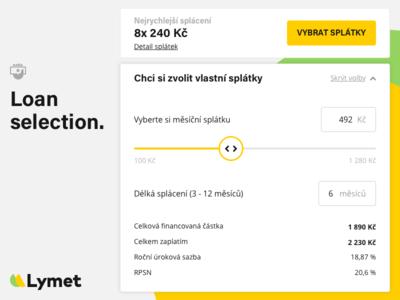 Lymet loan selection (widget) calculator user interface ux ui web application finance app lymet personal loan loans finance widget slider selection loan
