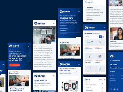 Nipro Europe products pharmaceutical medical europe design iphone mobile clean layout website webdesign ux ui diabetes nurses hospitals healthcare pharma