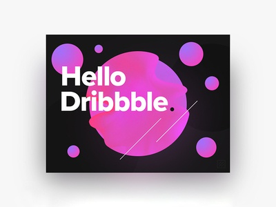 Hello Dribbble ! illustration artwork dribbble circles gradient pink bubbles graphicdesign