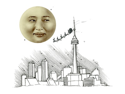 When, what to my wondering eyes should appear! sleigh toronto moon christmas illustration