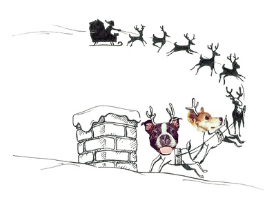 And then, in a twinkling, I heard on the roof... rooftop sleigh toronto dogs christmas illustration