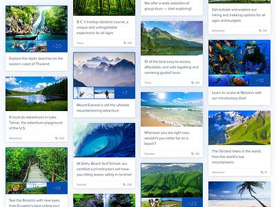 Cards challenges saas product platform advocate web design ui design landing page design community cards