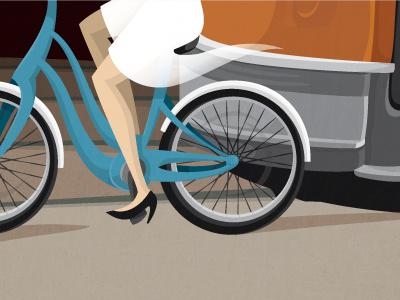 Cycling in Toronto illustration bicycle cycling toronto streetcar