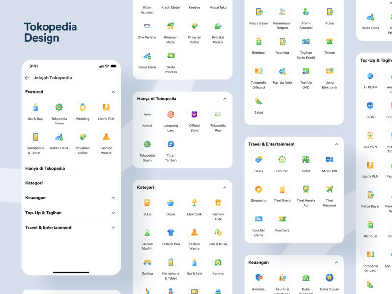 Jelajah Tokopedia design marketplace category page category icons directory landing page illustration e-commerce ios mobile iphone x exploration apps ux ui