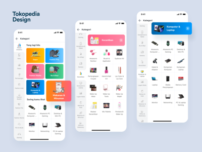 Belanja Page - Tokopedia tokpedia file manager directory category onboarding fashion app e-commerce mobile iphone x ios exploration apps ux ui