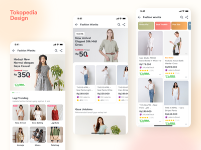 Fashion Wanita Homepage - Tokopedia product card tab minimalist card category page marketplace fashion woman tokopedia ios fashion app e-commerce landing page iphone x mobile apps exploration ux ui