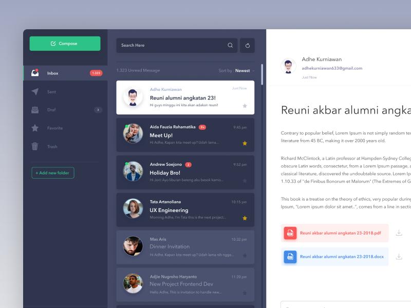 Email Inbox Exploration desktop webapp dashboard message inbox email