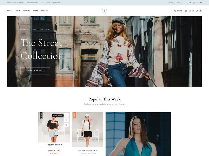 E-commerce Homepage Layout web design theme ui  ux minimal ui wordpress ecommerce e-commerce webdesign website web shop woocommerce theme woocommerce