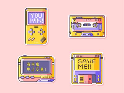 Retro Stickers nostalgia illustration design