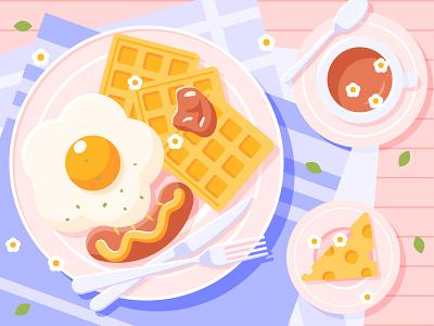 Breakfast branding poster webdesign illustration design