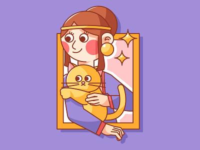 Lady with a Cat ux ui poster branding webdesign illustration design