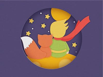 Little Prince paper-cutting poster animation branding webdesign illustration design