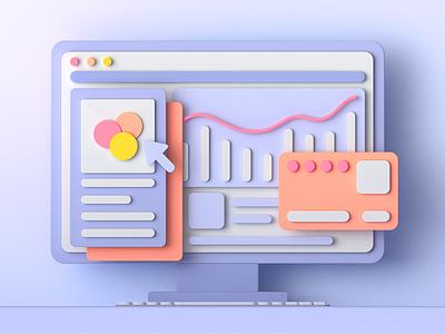3D computer c4d 3d ux ui poster branding webdesign illustration design