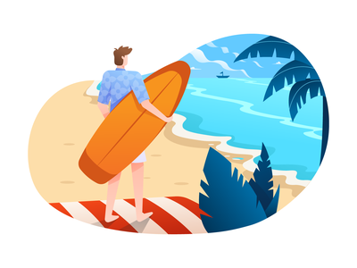 Beach Illustration vector illustration surf coast vacation paradise island ocean sea beach