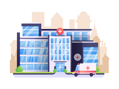 Hospital Building illustration pharmacy drugstore surgery paramedic ambulance clinic healthcare emergency medical hospital