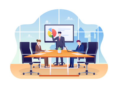 Boardroom Illustration vector illustration leader manager discussion presentation company meeting conference boardroom office
