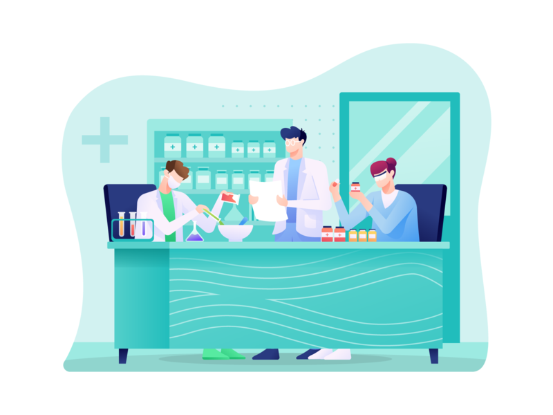 Pharmaceutical Illustration illustration chemical scientist laboratory medication research drug pharmacy science medicine pharmaceutical