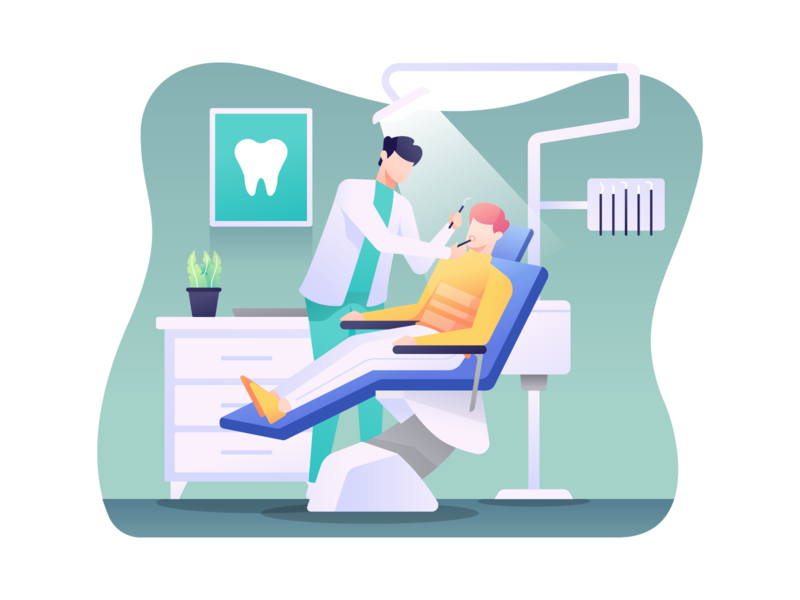 Dentist Illustration illustration orthodontist orthodontic teeth patient doctor dentistry clinic dental dentist