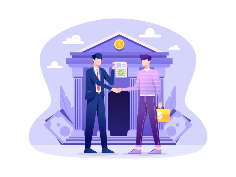 Bank Loan Illustration illustration savings lending debt contract credit banking investment finance bank loan