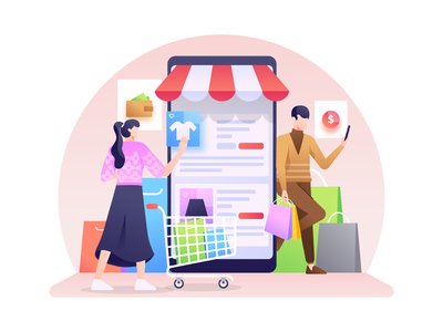 Shopping Via Smartphone Illustration illustration website gadget wallet transaction payment purchase shopping mobile online smartphone