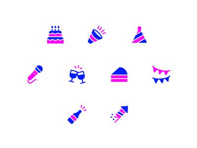 Birthday Party Icon Set celebration party birthday symbol design vector icons icon