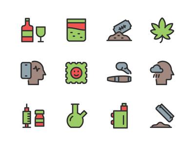 Addiction icon Set marijuana depression cigarette smartphone drug alcohol habit addiction icon set icons icon