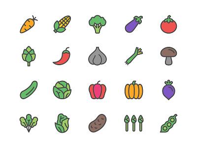 Vegetables Icon Set chili tomato pumpkin corn carrot harvest farm vegetable icon set icons icon