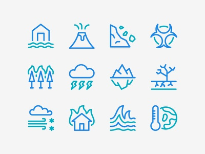 Disaster Icon Set global warming tsunami blizzard fire landslide eruption flood disaster icon set icons icon