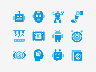 Robotic Icon Set machine cyborg automation robotic artificial intelligence technology ai robot icon set icons icon
