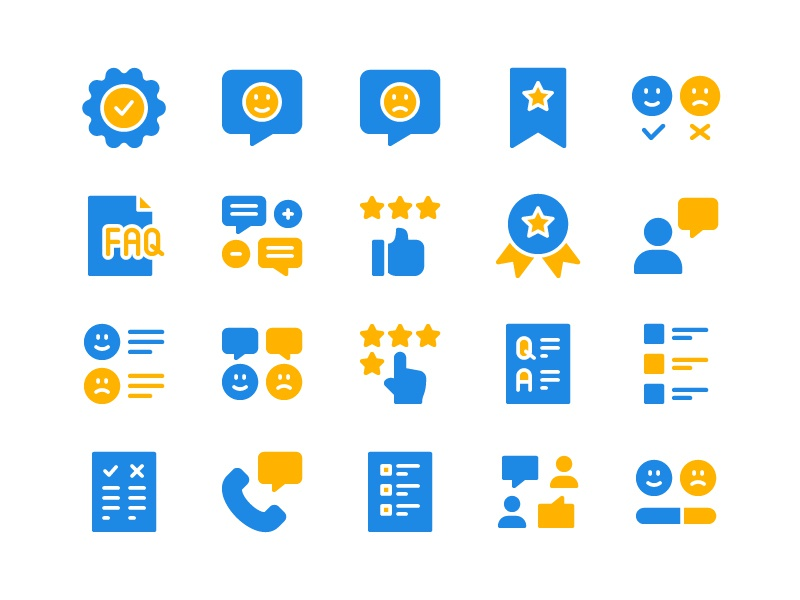 Survey Icon Set form review test questionnaire rating customer feedback survey icon set icons icon