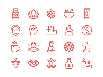 Therapy Icon Set acupuncture relax meditation yoga beauty spa patient therapy icon set icons icon