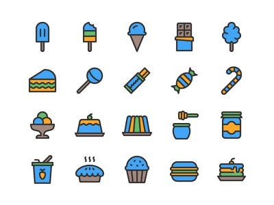 Sugary Food Icon Set food sugar sweet dessert snack candy pastry bakery icon set icons icon
