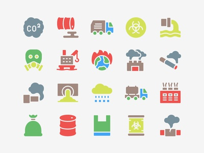 Pollution Icon Set conservation ecology environment factory industry waste pollution icons icon set icon