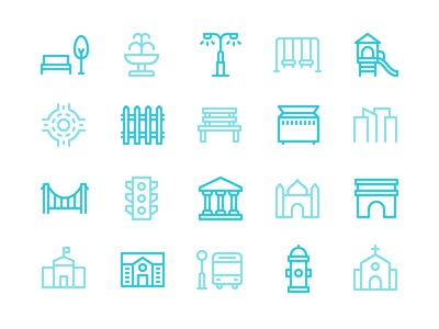 City Icon Set playground architecture building road town urban park city iconset icons icon