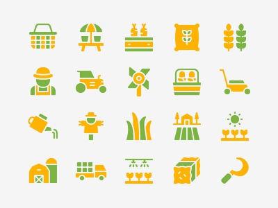 Gardening Icon Set landscape plantation agriculture farmer harvest farm gardening iconset icons icon