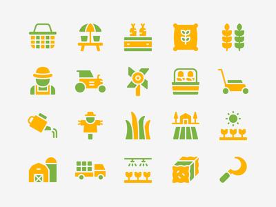Gardening Icon Set landscape plantation agriculture farmer harvest farm gardening iconset icons icon